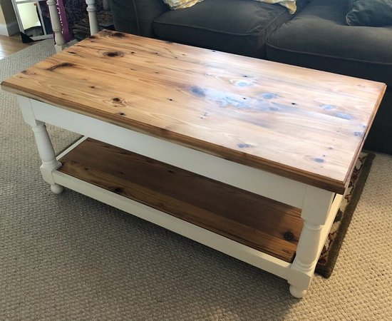 Coffee Table With Reclaimed Top And Turned Legs