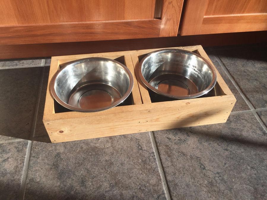 Photo of Dovetailed Walnut Elevated Dog Dish
