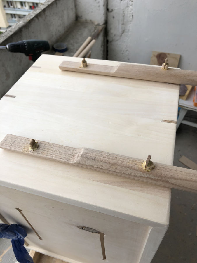 Photo of Birch bedside table with built in wireless charger.