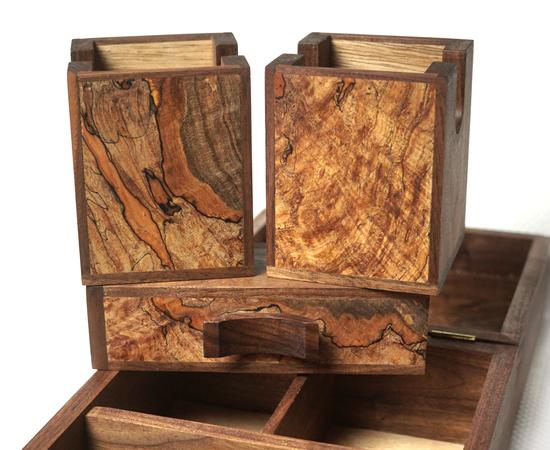 Maple burl and Walnut Deck Box