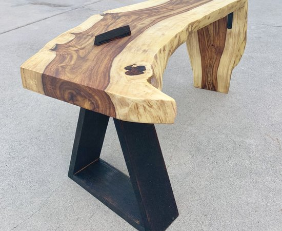 Rosewood And Charred Oak Bench
