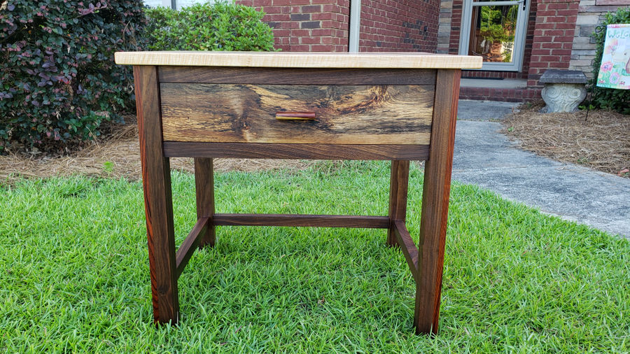 Photo of Walnut, Spalted Maple And Ambrosia Maple End Table