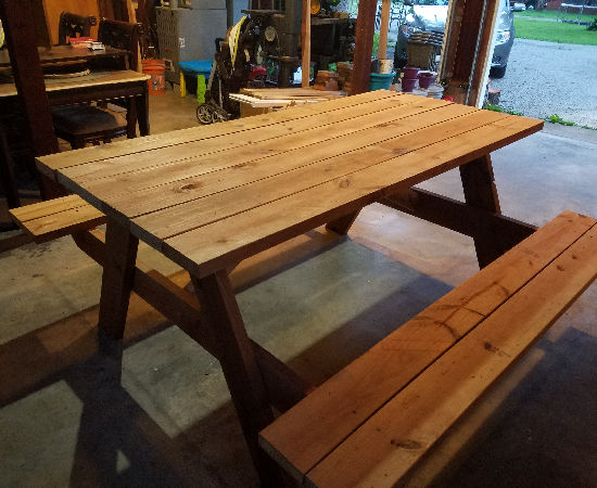 Repurposed Shed Wood Into Picnic Table