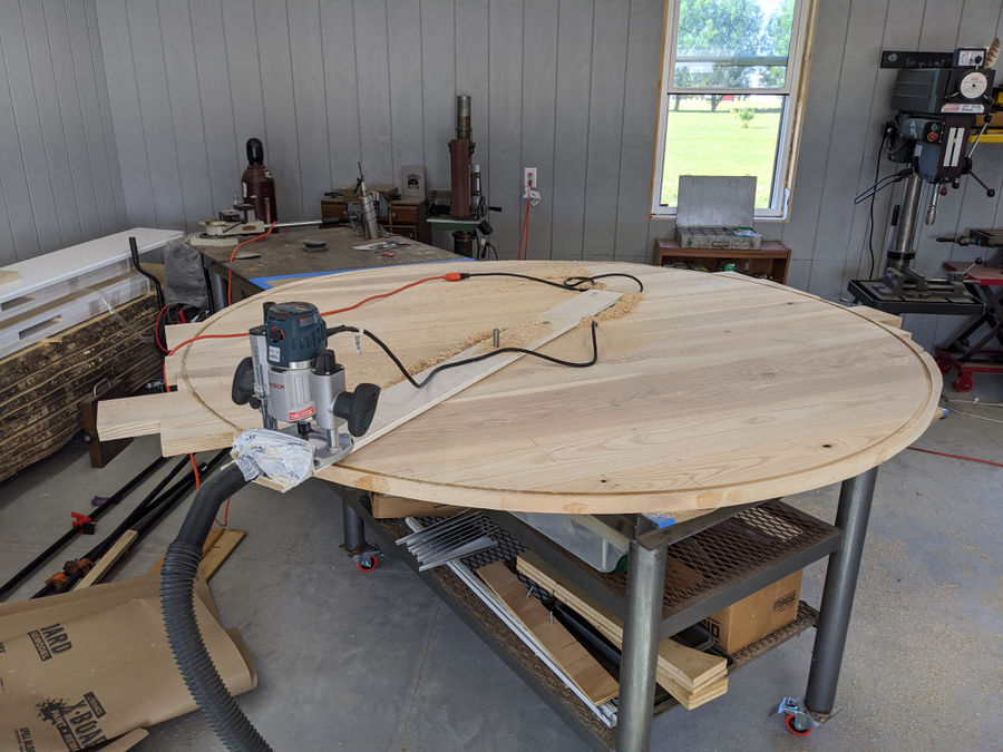 """Photo of 80"""" Ash table with lazy susan"""