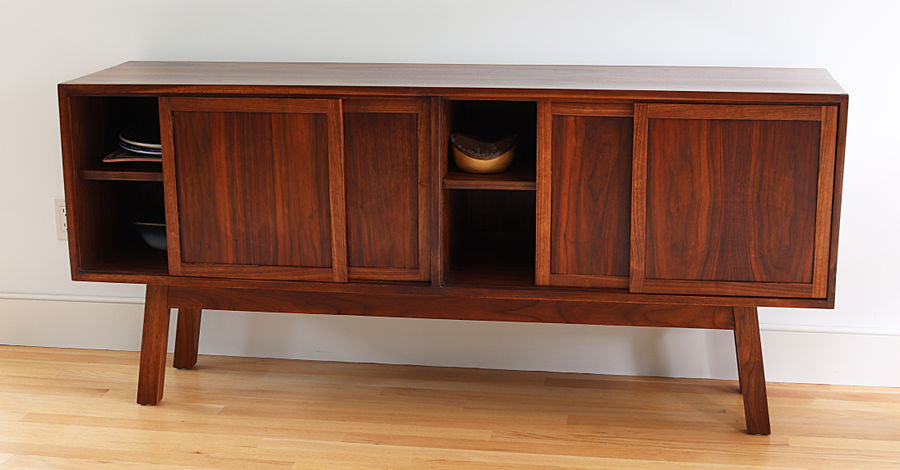 Photo of Walnut Credenza With Bookmatched Case And Hand Cut Dovetails