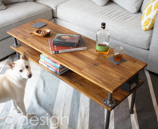 Two Level Wood + Pipe Coffee Table - Create Your Free Maker Profile -  SimpleCove - Two Level Wood + Pipe Coffee Table - Create Your Free Maker