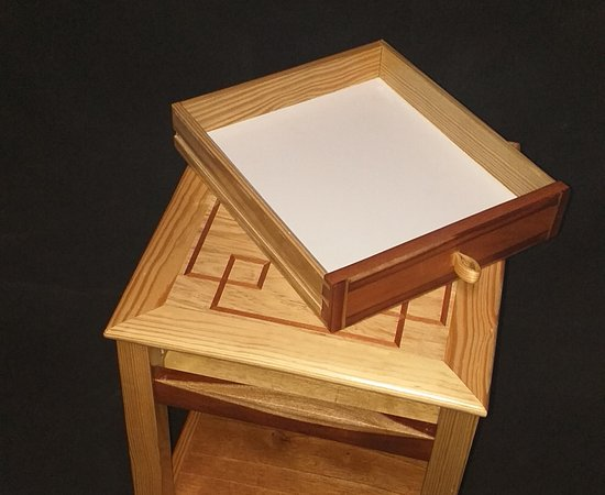 Side Table in pine cedar and figured mahogany